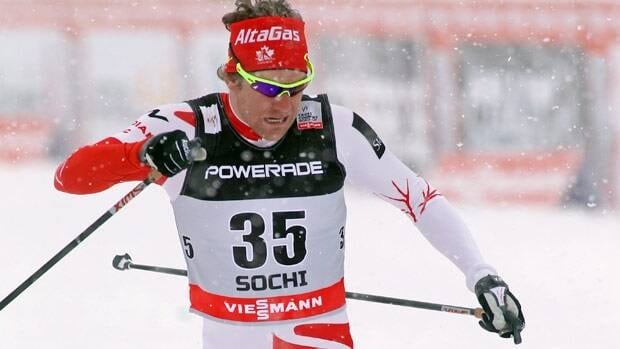 Devon Kershaw of Sudbury, Ont., stretches for the finish line in free sprint qualification Friday in Russia.