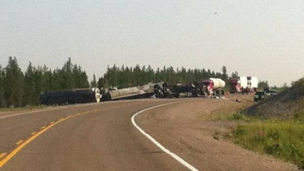 N.W.T.'s Highway 3 is open to one lane of traffic after a fuel truck jackknifed near Chan Lake, which is between Fort Providence and Behchoko.