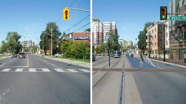 This conceptual drawing by the Region of Waterloo compares how King Street at the Grand River Hospital before and after light rail