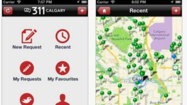 Screenshots from the Iphone version of the new Calgary 311 app.