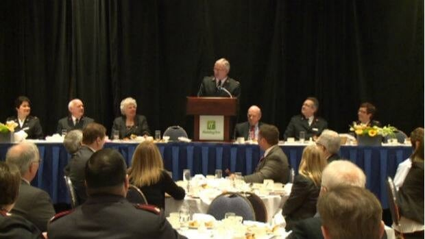 Salvation Army Commissioner Brian Peddle spoke at the Red Shield fundraising luncheon on Tuesday.