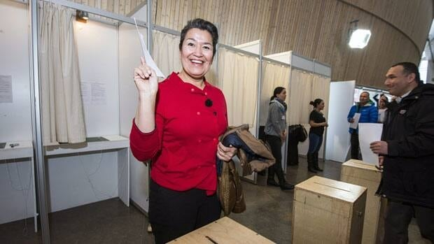 Aleqa Hammond, leader of the Siumut party, casts her vote in Nuuk during the general election in Greenland on Tuesday. The Siumut party won 42.8 per cent of the vote and 14 seats, while incumbent Premier Kuupik Kleist's Inuit Ataqatigiit party took 34.4 per cent.