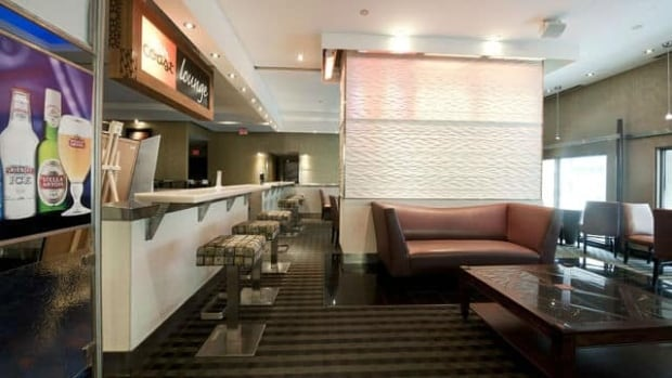 A lounge at the Cineplex Odeon Varsity and VIP Cinemas in Toronto.