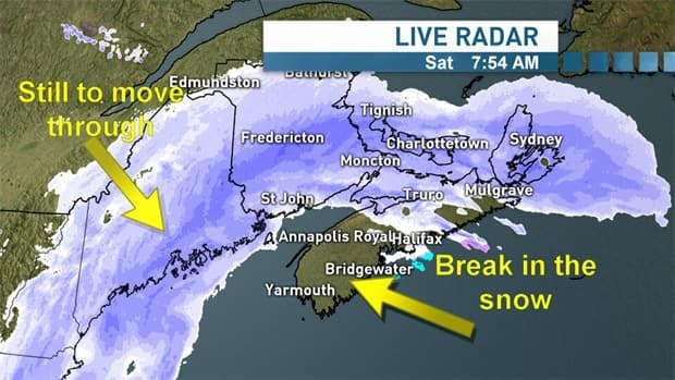 According to Environment Canada, a total of 20 to 30 centimetres of snow is expected across the province before Sunday morning. Strong winds out of the northeast, gusting to 80 km/h are expected through Sunday morning.