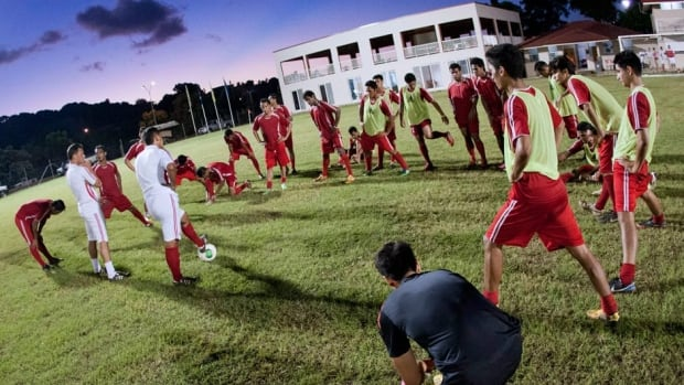 Tahiti players take part in a training session on May 22 in Papeete on the French Polynesian island.