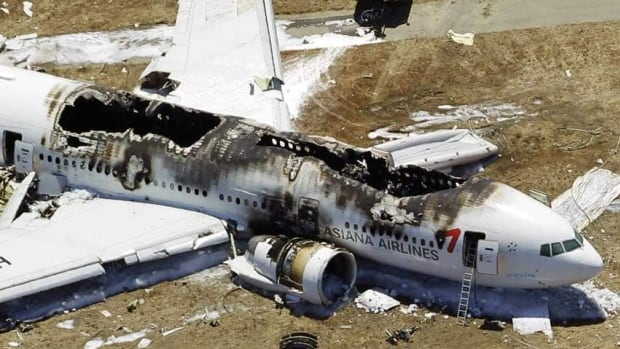This aerial photo shows the wreckage of the Asiana Flight 214 airplane after it crashed at the San Francisco International Airport in San Francisco on Saturday