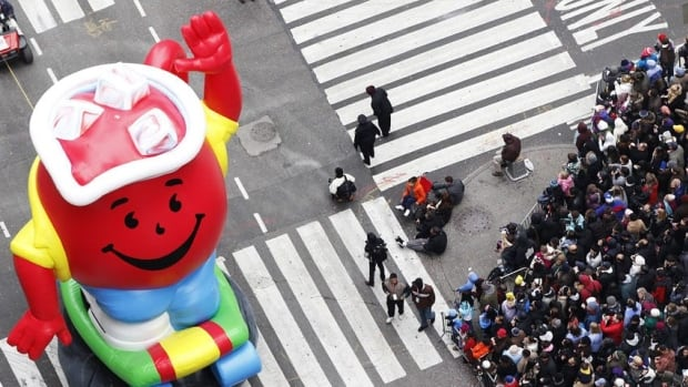 The Kool-Aid Man, shown here in balloon form, is now computer generated rather than an actor in a foam suit.