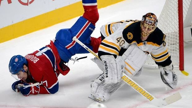 Boston Bruins goaltender Tuukka Rask, right, kept Rene Bourque, left, and the Montreal Canadiens off balance for most of the game Wednesday night at the Bell Centre.