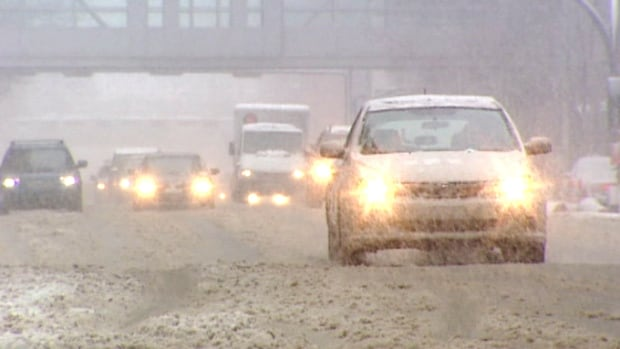 Officials advise using caution on slippery roads.