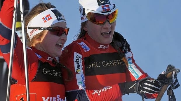 Ingvild Flugstad Oestberg, left, and Maiken Caspersen Falla of Norway 1 celebrate their victory during the women's 6 x 0.85 km Free sprint final of the FIS Cross-Coutntry World Cup on Sunday in Liberec.