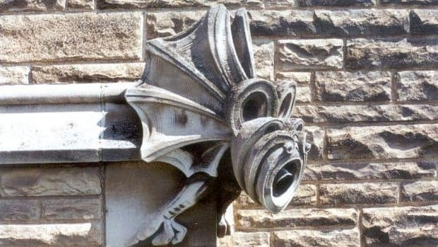 A gargoyle stands guard over McMaster University's Hamilton Hall, built in 1930.