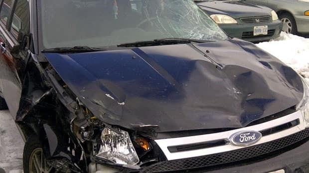 This car was damaged by a group of stampeding horses around midnight on Thursday.