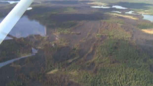 An aerial shot of some of the destruction caused by the forest fires that continue to burn in western Labrador.