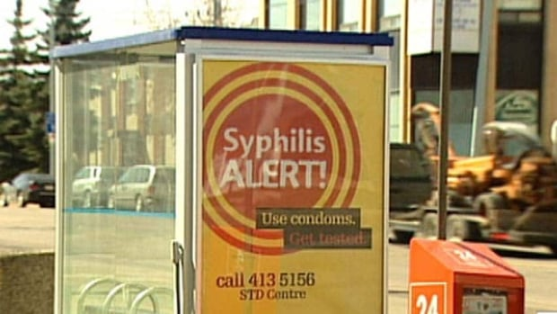A poster urges Albertans to get tested for syphilis. Public campaigns targeting the SDI saw rates drop.