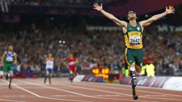 Oscar Pistorius of South Africa celebrates winning the Men's 400m T44 Final during the London 2012 Paralympic Games at the Olympic Stadium in London September 8, 2012.