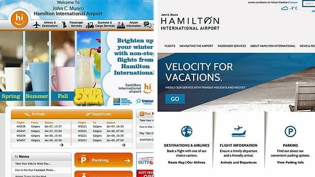 Screenshots of the Hamilton International Airport's original website (left), and the redesigned site (right).