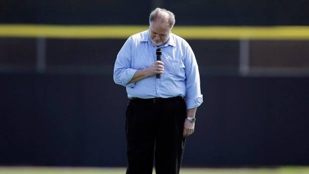 Singer Jeff Fuller reacts after forgetting lyrics to the Canadian national anthem before Wednesday's game.