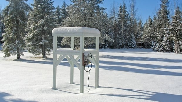 "This ""chillometer"" station, located in Aaron Provincial Park, provides a simulated measure of the amount of energy required to sustain an animal's body temperature throughout the winter, while fighting frigid temperatures and wind chill."