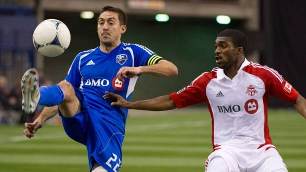 Montreal Impact captain Davy Arnaud , left, will try and keep his team's undefeated record intact when they face Ashtone Morgan, right, and the Toronto FC.