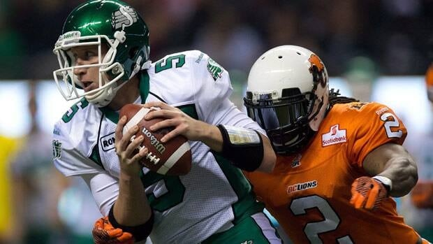 B.C. Lions defender Lin-J Shell, seen closing in on the quarterback during a 2012 CFL game, is back for a second season with the CFL club.