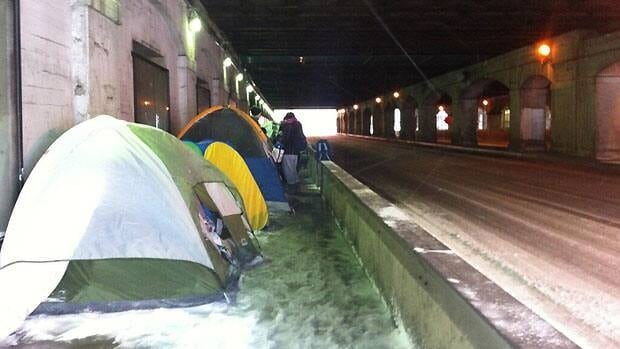 Dozens of fans have set up camp under a highway overpass next to the downtown Toronto venue hosting two Lady Gaga concerts this weekend.