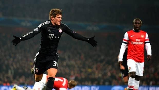 Toni Kroos of Bayern celebrates after scoring against Arsenal at Emirates Stadium on February 19, 2013 in London, England.