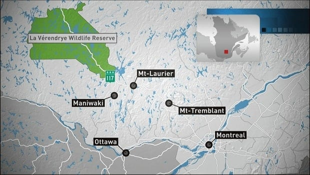 The crash Wednesday happened in La Vérendrye Wildlife Reserve, about 350 kilometres northwest of Montreal.