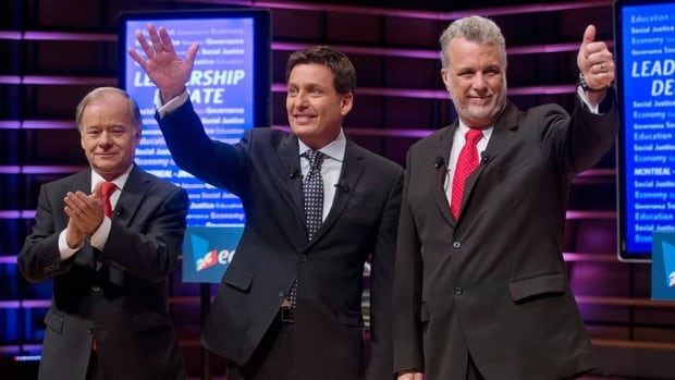 Quebec Liberal party leadership candidates Raymond Bachand (left,) Pierre Moreau and Philippe Couillard at the English-language debate in Montreal on Jan. 26.