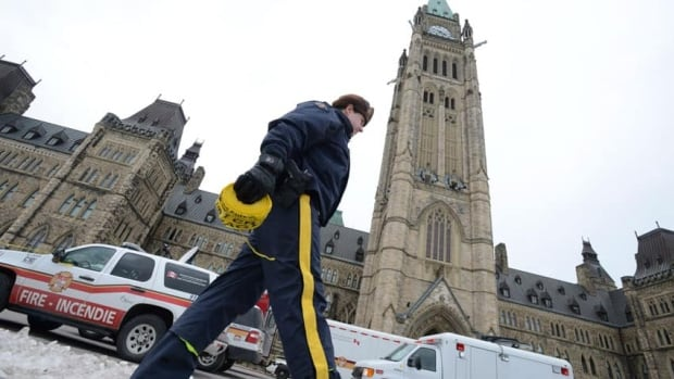 An RCMP officer walks with police tape as Parliament Hill. A $400 million federal fund is set to expire in March, leaving provincial police forces scrambling for extra funding.