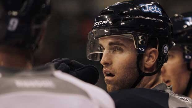 Winnipeg Jets captain Andrew Ladd at the opening day of training camp in Winnipeg on Jan. 13.