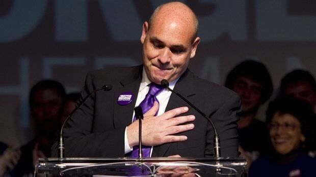 George Smitherman gives his concession speech during his post-election party in downtown Toronto Monday, October 25, 2010.