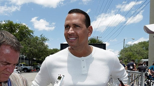 New York Yankees third baseman Alex Rodriguez talks to the media on Monday, when he reported to the team's minor league complex for rehabilitation.