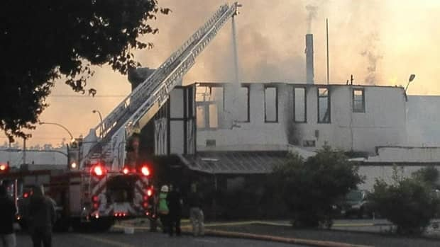 Officials say the fire at the Tudor House Pub in Esquimalt broke out at around 2:30 a.m. PT.