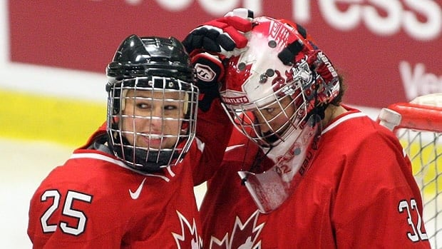 Defenceman Tessa Bonhomme and goaltender Charline Labonte, seen during the 2012 worlds, are back on the Canadian national squad.