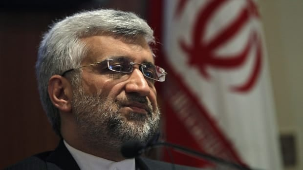 Iran's chief nuclear negotiator Saeed Jalili speaks during a news conference in New Delhi Friday. Iran has agreed to hold talks with six major powers about its atomic programme in January but the date and venue has yet to be decided, Jalili said on Friday.