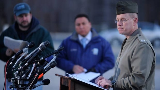 Col. David W. Maxwell speaks to reporters at the Marine Corps Museum in Quantico, Va., on Friday, following a murder-suicide Thursday night that resulted in the deaths of three marines.