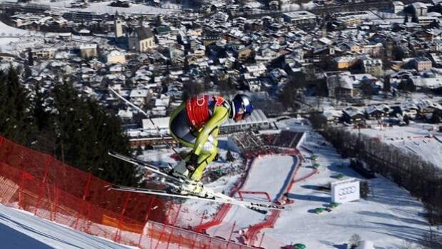 Aksel Lund Svindal skis the Strief overlooking Kitzbuehel, Austria, on Wednesday.