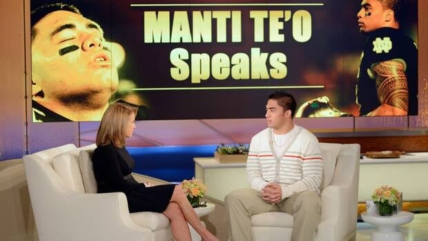 In this photo taken on Jan. 22, Notre Dame linebacker Manti Te'o, right, speaks with host Katie Couric during an interview in which he admitted he briefly lied about his online girlfriend after discovering she didn't exist.