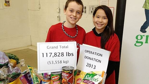 École Varennes students Cameron Tramley (left) and Kateesha Wai stand in front of the grand total of food being donated to Winnipeg Harvest Tuesday.