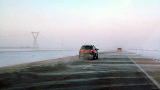 High winds not only caused windchill warnings but also sent snow blowing over Highway 1 near Winnipeg.