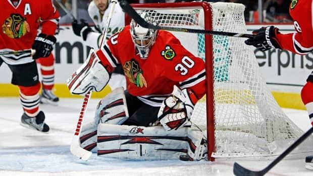 Chicago Blackhawks goalie Ray Emery, seen in Monday's game against Dallas, is 16-1-0 with a .923 save percentage in 20 games this season.