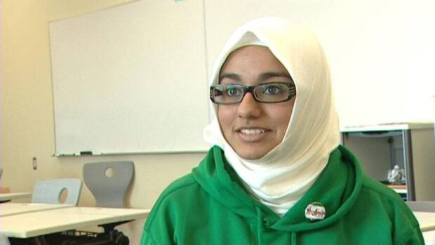 Saria Jabbar wants to tell fellow students that she doesn't feel oppressed wearing a hijab.