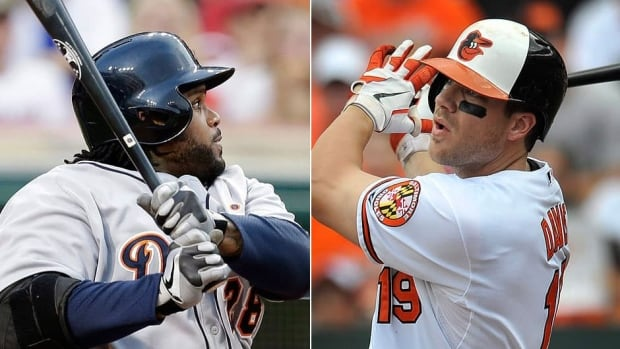 The Tigers' Prince Fielder, left, will try to defend his Home Run Derby title Monday night and win for the third time while Orioles slugger Chris Davis, right, enters the event with a major league-leading 37 homers this season.