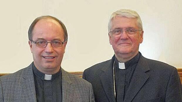 Bishop-elect Daniel Miehm and Bishop Douglas Crosby