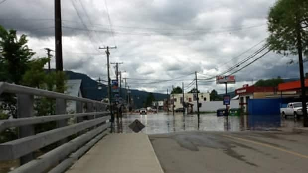 Businesses in downtown Lumby were inundated by floodwaters Friday.