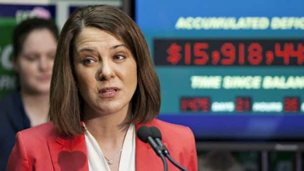 Wildrose Party Leader Danielle Smith makes a speech during the election campaign in April 2012. Her party has been fined for automated phone calls made around that time.