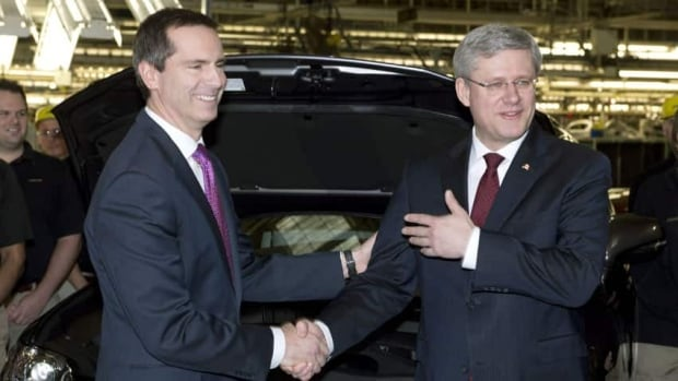 Ontario Premier Dalton McGuinty and Prime Minister Stephen Harper had nothing but compliments for each other during an announcement at the Toyota automotive plant in Cambridge, Ont.