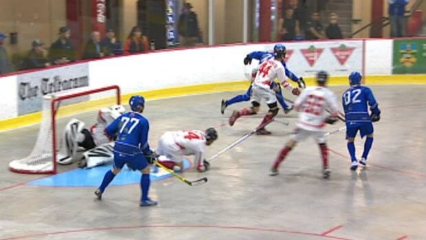 The Canadian men's ball hockey team faced Greece on Monday night at the Jack Byrne Arena in Torbay.