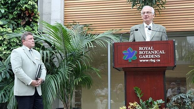 Hamilton Mayor Bob Bratina (right) speaks at the Cootes to Escarpment EcoPark launch ceremony at the Royal Botanical Gardens on Saturday as RBG president Mark Runciman looks on.