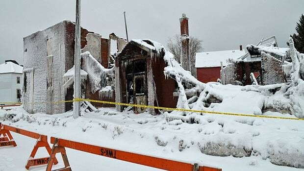 It took five fire trucks and 22 firefighters to extinguish the blaze but the building was gutted.